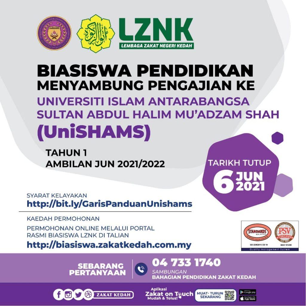 Biasiswa Pendidikan UniSHAMS Lembaga Zakat Negeri Kedah (LZNK) 2021