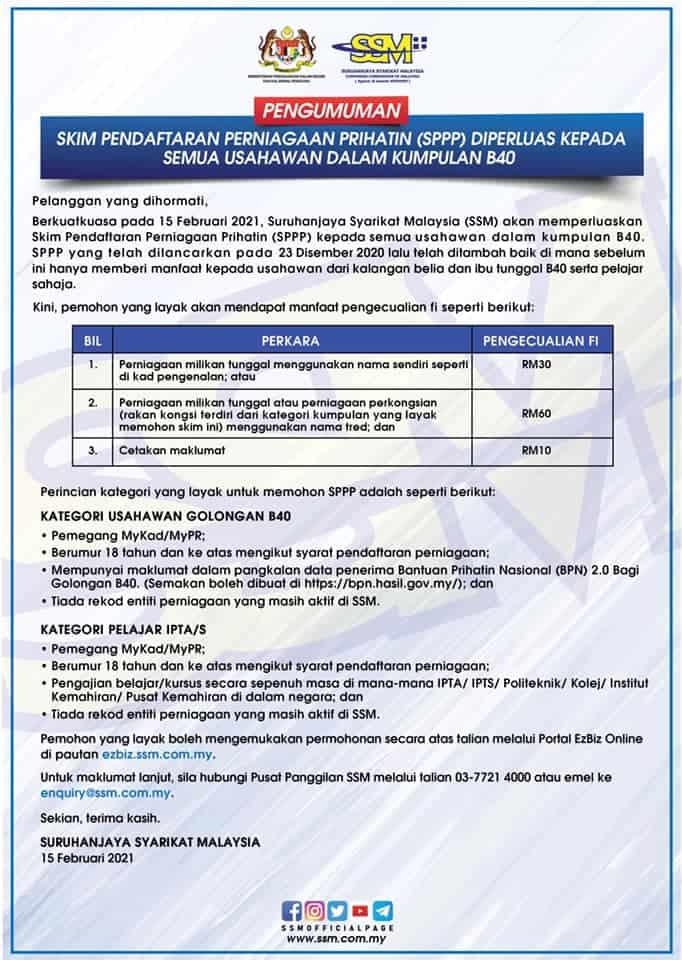 Pendaftaran SSM Dan Idea Berniaga Bernas Untuk Pelajar IPT