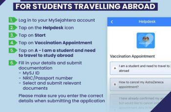 Permohonan Vaksinasi Awal MySejahtera bagi Pelajar Keluar Negara